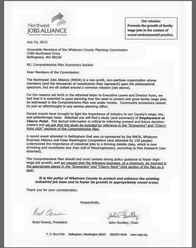 Northwest Jobs letter planning