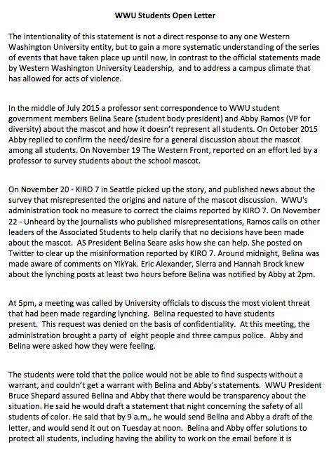 wwu students open letter pg 1
