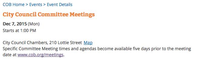 cob committee meetings