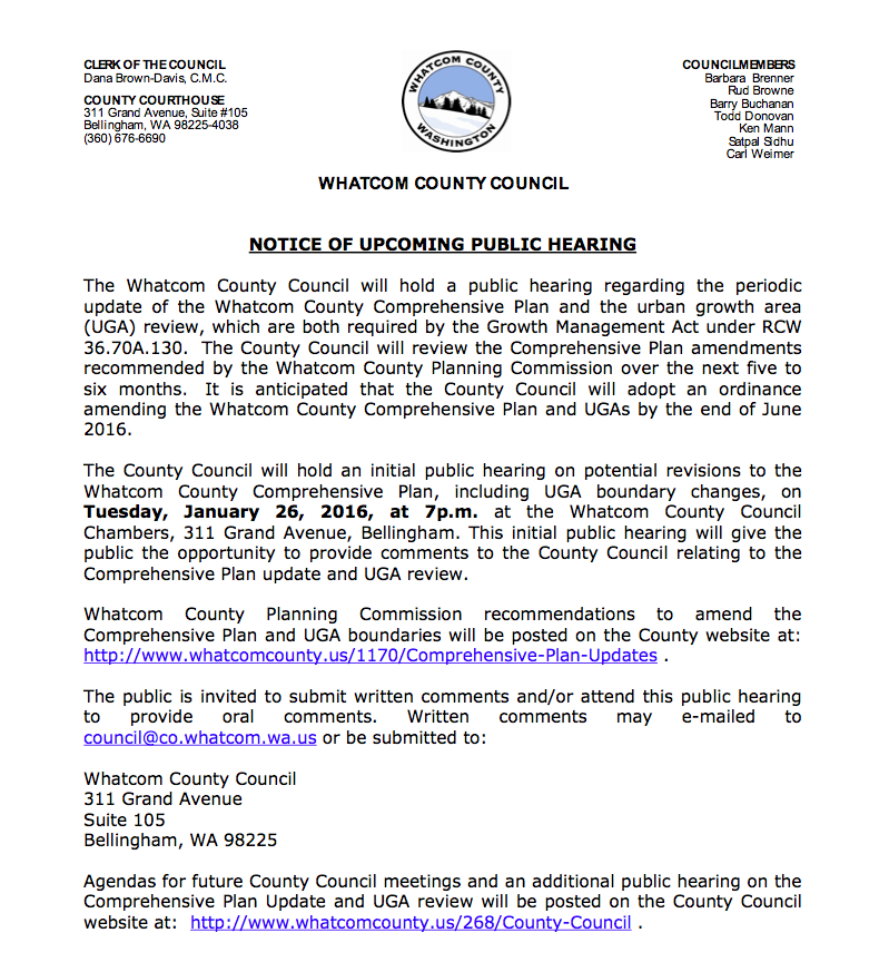public hearing notice comp plan