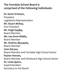 ferndale school board list