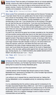 Section of Facebook comment thread attached to the Ferndale Schools 02-04-16 post promoting the donkey basketball event
