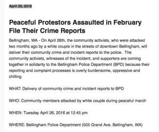 peaceful protestors file report