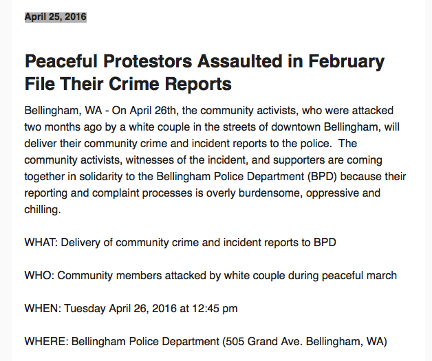 peaceful protestors file report