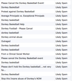 "Selection of donkey basketball emails from the list in the ""Junk Box Summary"""