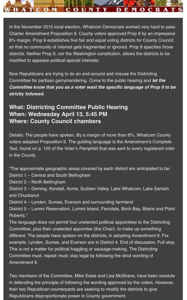 Whatcom dems districting hearing