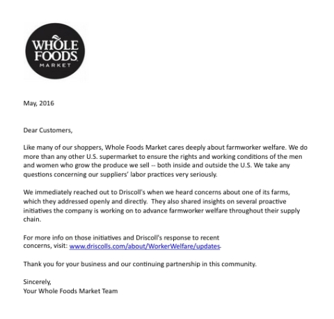 whole foods company letter farm workers