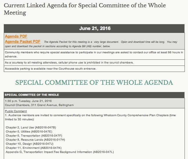 committee of the whole agenda
