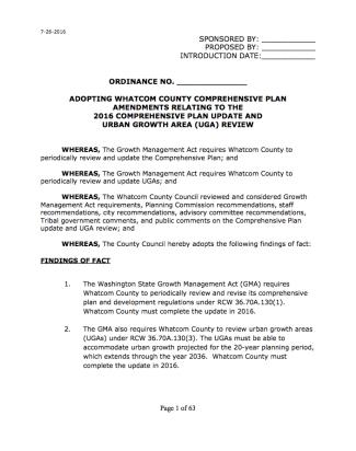 Adopting Whatcom County comp plan