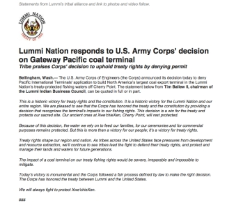 lummi press release army corps decision