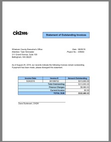 Click the graphic to view. CH2M Hill Vice President Dave Sturtevant, sent an invoice on August 26, 2016, via email, to Whatcom County Executive's Office for what the consultant said is an outstanding balance due of $313,000