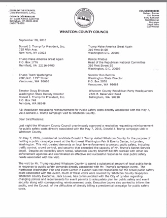 Screenshot photos of a scanned copy of the September 28, 2016 letter from the Whatcom County Council, sent to eight entities and/or individuals which were associated with the Donald J. Trump campaign, asking for the proper agents to notify in order to provide reimbursement for public safety costs incurred by Whatcom County, resulting from the May, 7, 2016 Trump campaign rally, held in Lynden, WA.