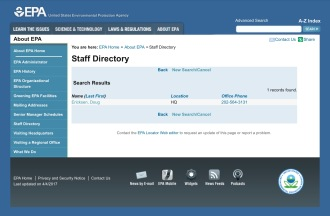 EPA staff directory listing for Doug Ericksen