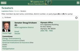 Washington State Legislature member directory listing for Senator Doug Ericksen