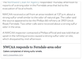 nwcaa phillips 66 ferndale odor