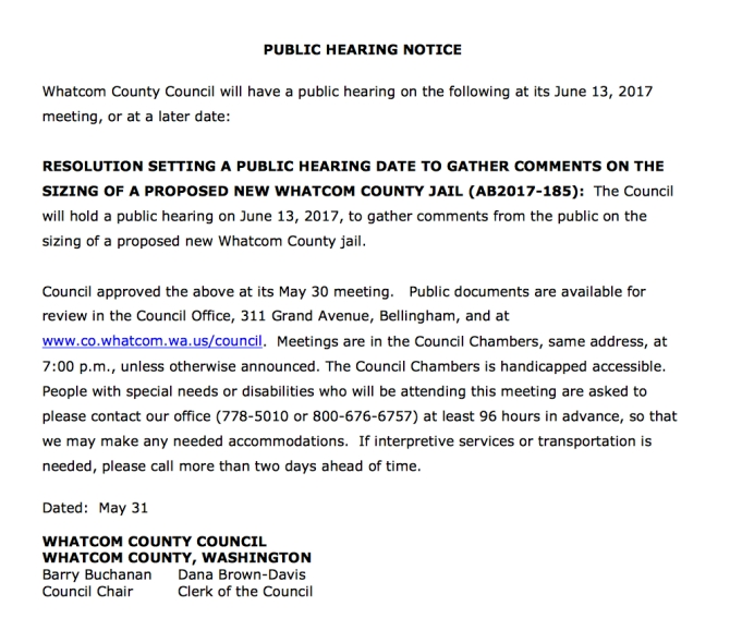public hearing june 13 size of jail