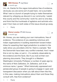 honea comment to jay and dena louise response