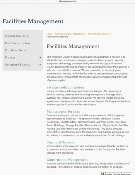facilities management page county website