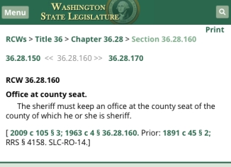 rcw on sheriff office