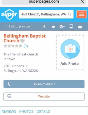 super pages bellingham baptist church