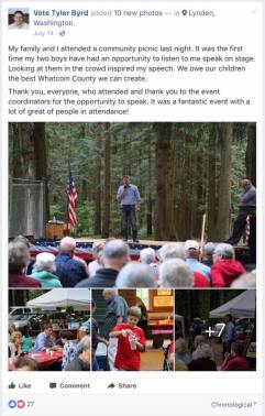 tyler bird at whatcom republicans picnic