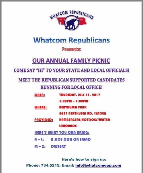 whatcom republicans picnic poster