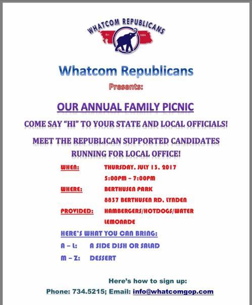 whatcom republicans picnic poster