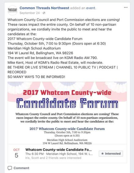 common threads fb post candidate forum
