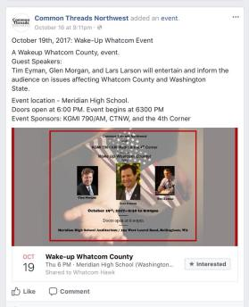 common threads fb post wake up whatcom event