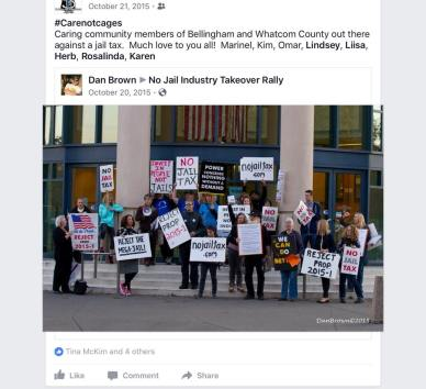 Original photo of no-jail-tax rally by Dan Brown posted on his Facebook page