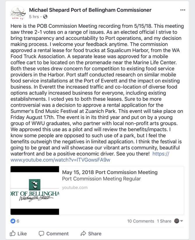 Commissioner Shepard 5:15 meeting post