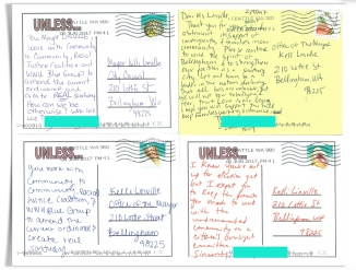 postcards to mayor redacted aqua