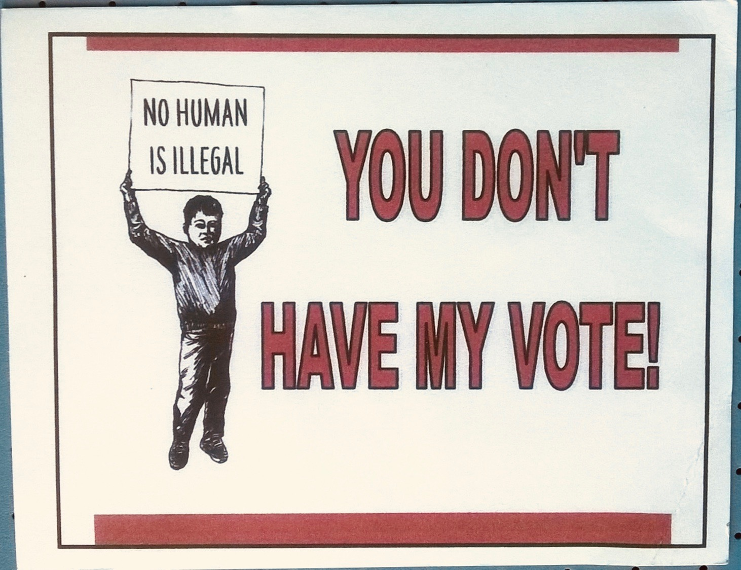 you don't have my vote postcard front cropped