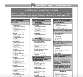 sample ballot 2018