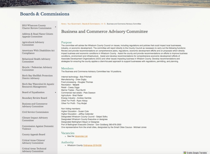business and commerce county webpage