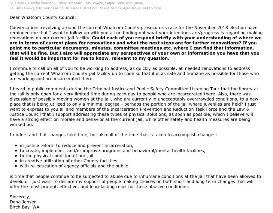 Letter to councils on jail renovations