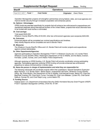 Page 2 of 3/26/18 Operation Stonegarden Grant Supplemental Budget Request