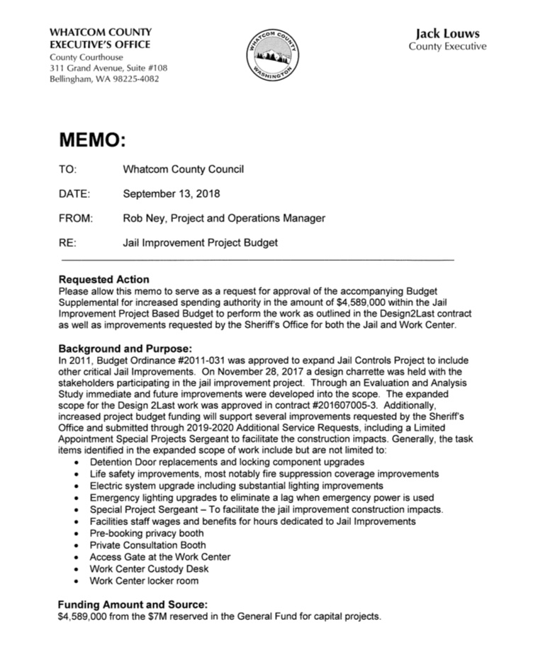 jail improvement project memo