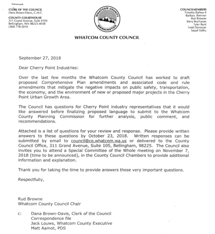 09/27/18 Letter from Whatcom County Council to Cherry Point Industries Page 1