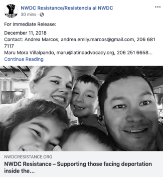 Image of 12/11/18 NWDC Resistance Press Release FB post