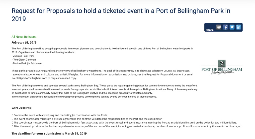 Port issues RFP for events that could shut down any of three public