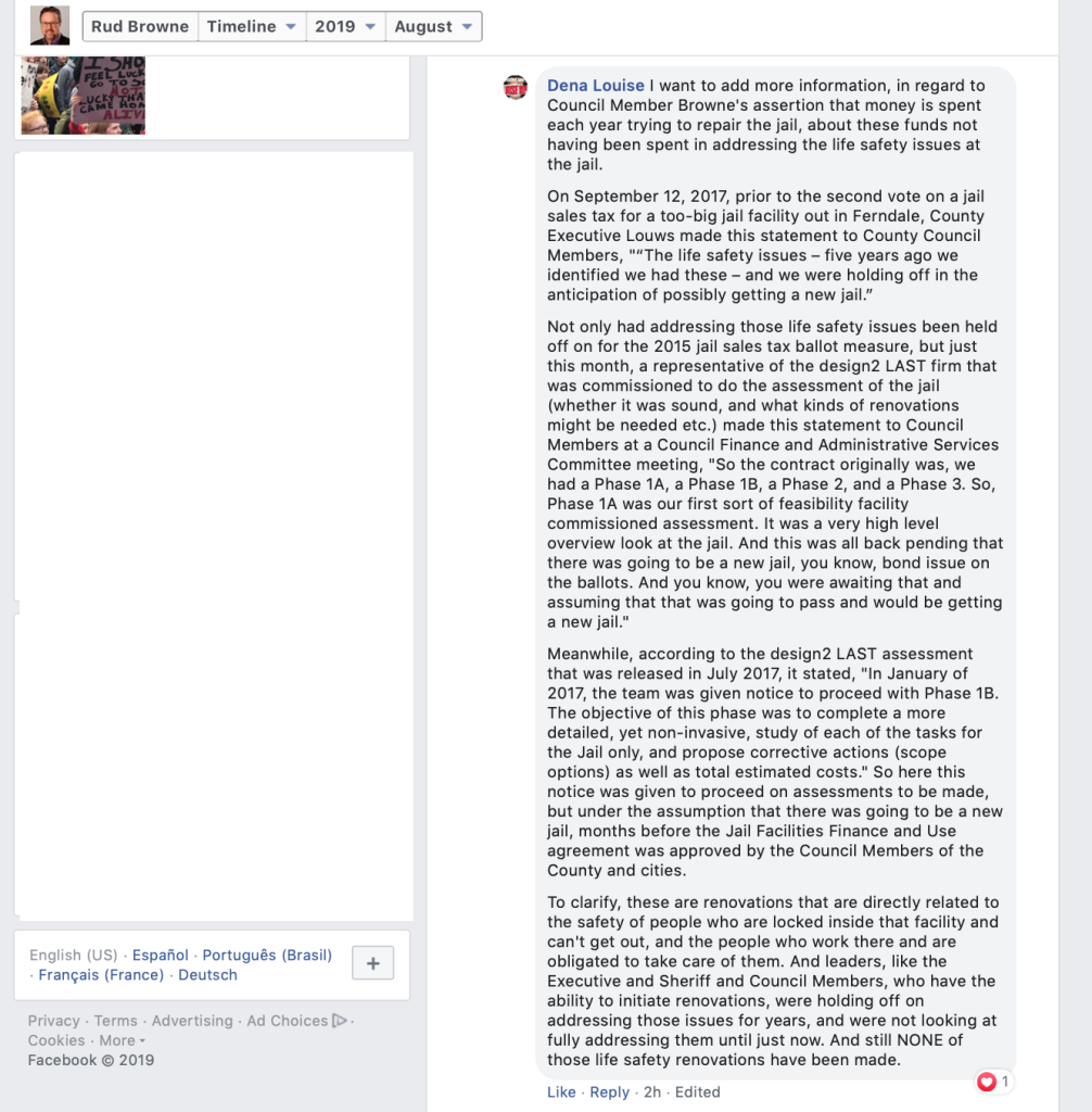 Some Facebook comments County Council Member Rud Browne hid