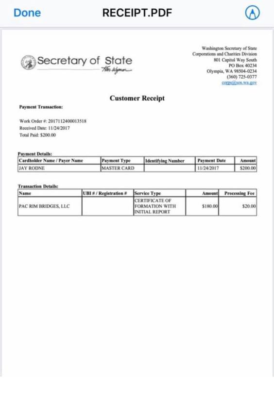 Jay Rodne Pac Rim Bridges registration SOS