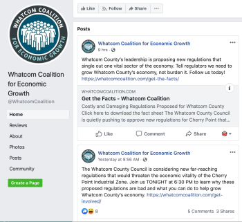 Screenshot of the 'Whatcom Coalition for Economic Growth' Facebook page