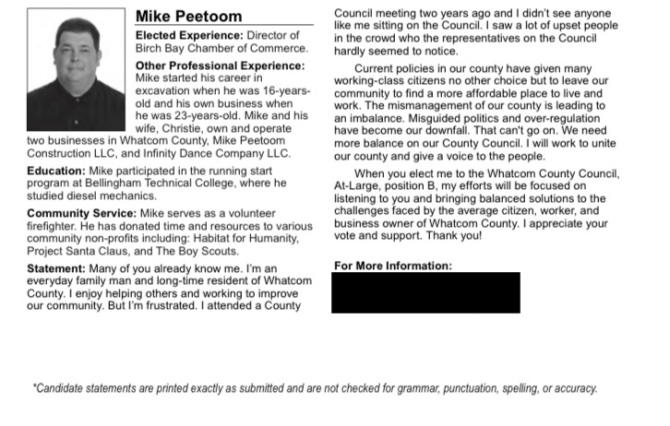 Mike Peetoom Voters' Pamphlet info